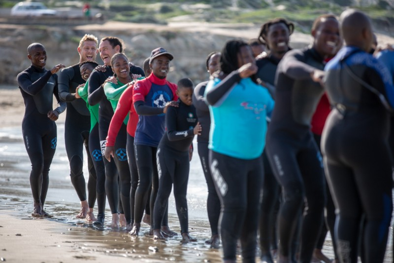 3 x World Champ Mick Fanning & Taylor Knox visit one of W4C's new Surfing & Autism Programmes